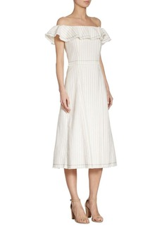 T by Alexander Wang Pinstriped Off-The-Shoulder Dress