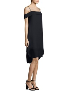 T by Alexander Wang Pleated Off-the Shoulder Silk Dress