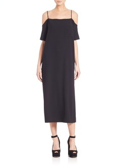 T by Alexander Wang Poly Cold Shoulder Crepe Dress