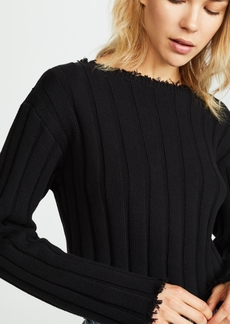 T by Alexander Wang Raw Edge Off Shoulder Pullover