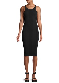 T by Alexander Wang Ribbed Strappy-Back Midi Dress