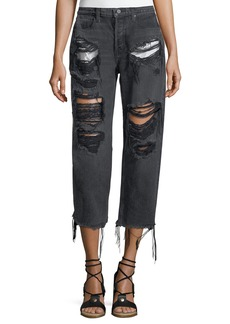 T by Alexander Wang Rival Destroyed Cropped Boyfriend Jeans w/ Pocket Detail