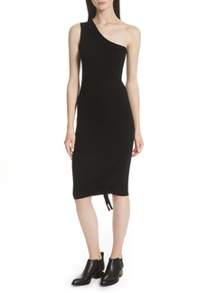T by Alexander Wang Ruched Merino Wool One-Shoulder Dress