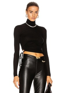 T by Alexander Wang Ruched Rib Long Sleeve Cropped Turtleneck Top