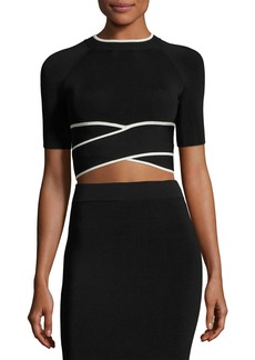 T by Alexander Wang Short-Sleeve Crisscross Crop Top W/ Tipping
