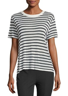 T by Alexander Wang Short-Sleeve Striped Slub Jersey Tee with Back Detail