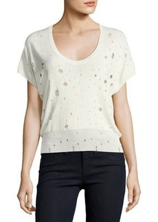 T by Alexander Wang Short-Sleeve U-Neck Distressed Sweater
