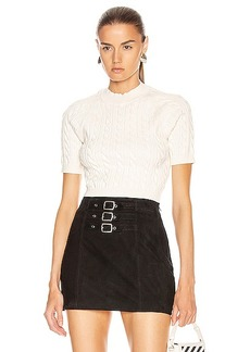 T by Alexander Wang Shrunken Cable Short Sleeve Sweater