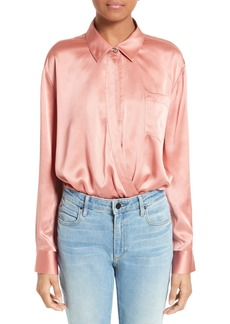 T by Alexander Wang Silk Wrap Shirt Bodysuit