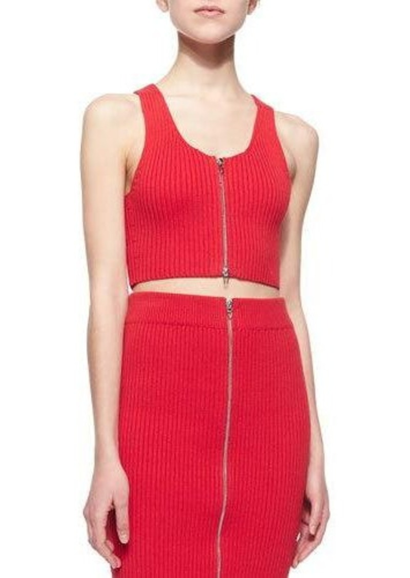 T by Alexander Wang Sleeveless Ribbed Zip-Front Cropped Top