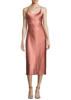 T by Alexander Wang Sleeveless Satin Slip Dress W/ Threadwork