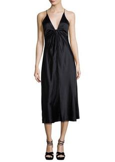 T by Alexander Wang Sleeveless Silk Charmeuse Midi Dress