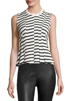 T by Alexander Wang Sleeveless Striped Peplum Top