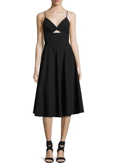 T by Alexander Wang Sleeveless V-Neck Full Dress W/ Front Keyhole
