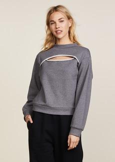 T by Alexander Wang Slit Front Long Sleeve Sweatshirt