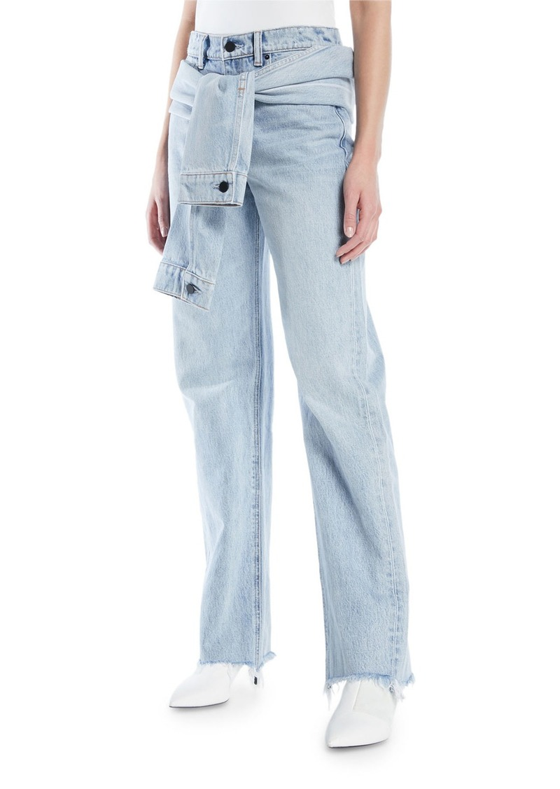 T by Alexander Wang Stack Tie-Front Wide-Leg Jeans
