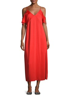 T by Alexander Wang Stretch Crepe Cold-Shoulder Midi Dress
