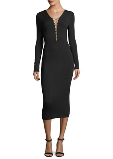 T by Alexander Wang Stretch-Jersey Long-Sleeve Fitted Cocktail Dress with Lacing