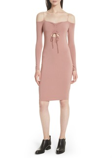 T by Alexander Wang Stretch Jersey Off the Shoulder Dress