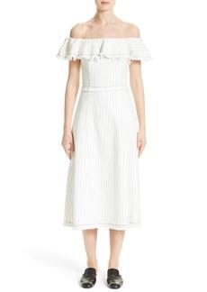 T by Alexander Wang Stripe Burlap Off the Shoulder Dress