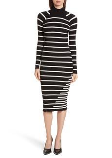 T by Alexander Wang Stripe Knit Turtleneck Dress