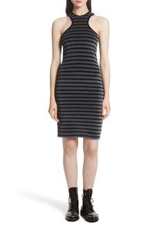T by Alexander Wang Stripe Velour Racerback Dress