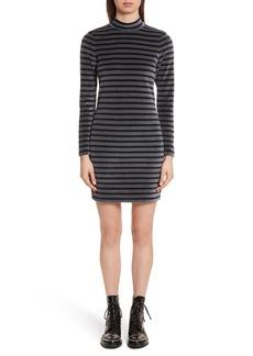 T by Alexander Wang Stripe Velour Turtleneck Dress