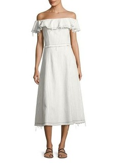 T by Alexander Wang Striped Burlap Off-the-Shoulder Midi Dress