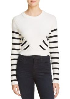 T by Alexander Wang Striped Crop Sweater