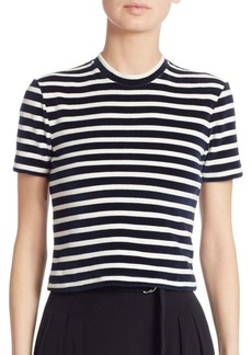 T by Alexander Wang Striped Mockneck Cropped Top