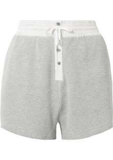 T by Alexander Wang Striped Poplin-trimmed Waffle-knit Cotton Shorts