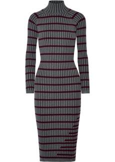 T by Alexander Wang Striped ribbed stretch-knit midi dress