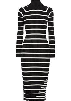 T by Alexander Wang Striped ribbed stretch-knit turtleneck midi dress