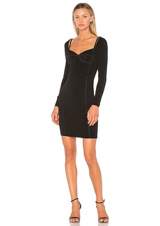 T by Alexander Wang Sweetheart Long Sleeve Fitted Dress in Black. - size 0 (also in 2,4,6)