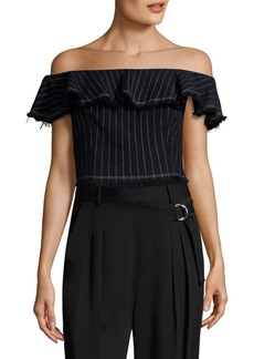 T by Alexander Wang T by Cotton Burlap Off-The-Shoulder Cropped Top