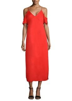 T by Alexander Wang Cold Shoulder Crepe Midi Dress