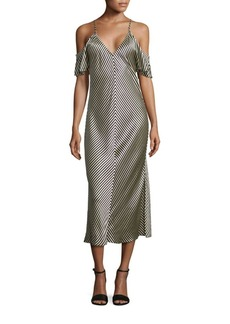 T by Alexander Wang T by Striped Silk Midi Dress