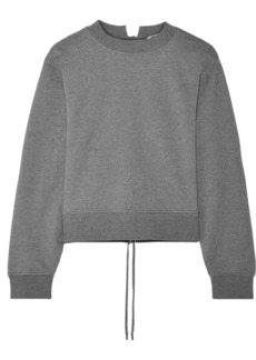 T by Alexander Wang Tie-back cropped French cotton-terry sweatshirt