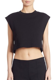 T by Alexander Wang Tie-Back Cropped Sweatshirt