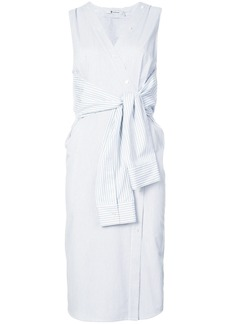 T By Alexander Wang tie front midi dress - White