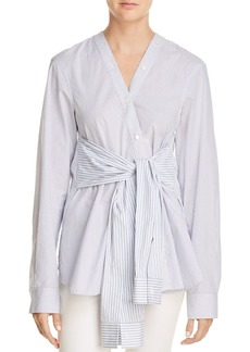 T by Alexander Wang Tie-Waist Striped Shirt