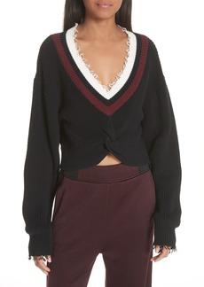 T by Alexander Wang Twist Front Varsity Sweater