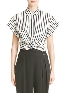 T by Alexander Wang Twist Hem Stripe Shirt