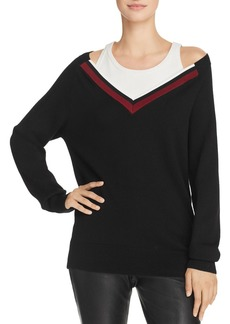 T by Alexander Wang Varsity Trim Layered-Look Sweater