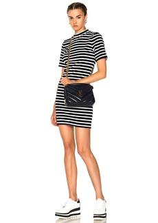 T by Alexander Wang Velvet Short Sleeve Mock Neck Dress