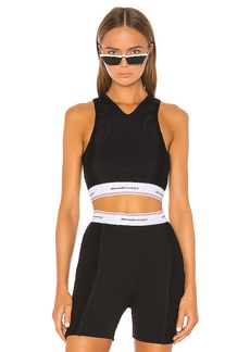 T by Alexander Wang Wash & Go Compact Rib Logo Elastic Crop Top