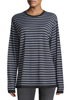 T by Alexander Wang Wash Go Striped Crewneck Long-Sleeve Merino Wool Tee