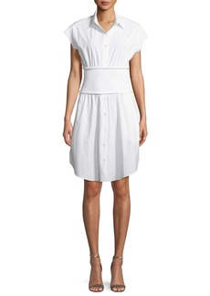 T by Alexander Wang Washed Cotton Poplin Shirtdress with Rib Combo