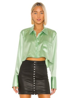 T by Alexander Wang Wet Shine & Go Cropped Blouse