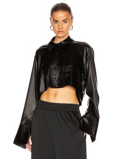 T by Alexander Wang Wet Shine Wash & Go Cropped Button Down